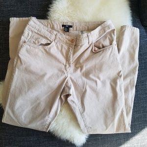 Pale blush corduroy zippered pants